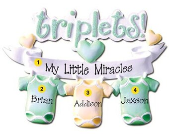 Personalized Triplets Baby's First Christmas Ornament Onesie - Newborn, Baby Shower Gift