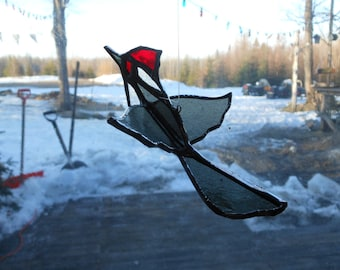 3-D Pileated woodpecker stained glass suncatcher