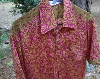 Men's Handmade Indian Sari Silk Button Down Dress Shirt - Father Son Matching - Magenta and Olive with Swirl Accents - Richard G708