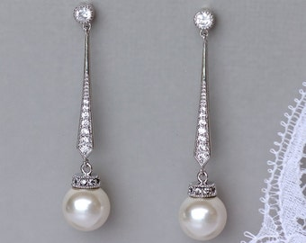 Pearl Dangle Earrings, White Gold Pearl Drop Earrings, Crystal Bridal Earrings,   DANIELLE S