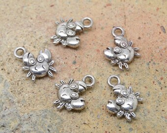 10 charms crab, kids animal fun silver metal