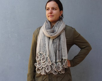 Paisley Crocheted Scarf, Mori Girl Style, Earth colors Natural Cotton Luxurious Accessory
