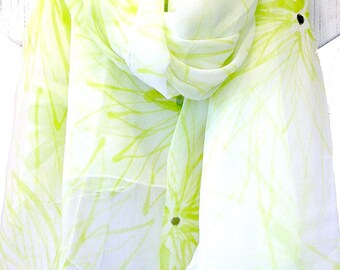 Green Chiffon Shawl, Hand Painted Silk Scarf, Summer Silk Wrap, Scarf Beach White, Chiffon Scarf, Chartreuse Green Chrysanthemum Scarf