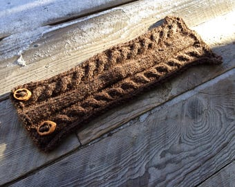 Brown Knit Cabled Scarf with Walnut Buttons