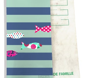 Protects family pattern fishes sailor blue and green art book P3150