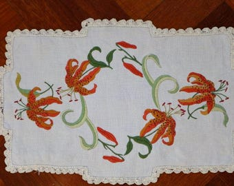 Vintage Art deco linen doiley embroidered with vibrant orange tiger lilies.  Proceeds to charity VACD Ltd