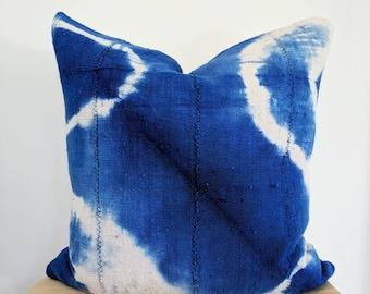 indigo shibori mudcloth pillow cover
