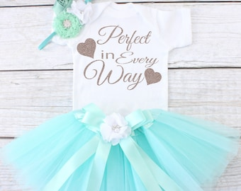 Perfect in Every Way. Take Home Outfit. Newborn Outfit. Baby Tutu Outfit. Baby Clothing Set. Baby Girl Outfit. Girl's Outfit. T13 GRL (AQUA)