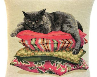 Persian Cat Pillow Cover - Cat Throw Pillow - Cat Cushion Cover - Cat Decor - Cat Lover Gift - 18x18 Belgian Tapestry Cushion  - PC-5661