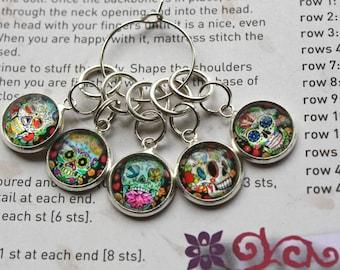 5 Knitting stitch marker rings sugar skulls cabochon
