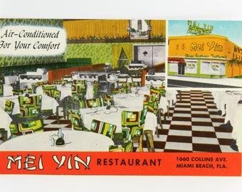 Mei Yin Restaurant Miami Beach Florida Vintage Linen Postcard 1660 Collins Ave. 21467