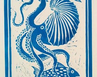 Argonaut nautilus - linocut print