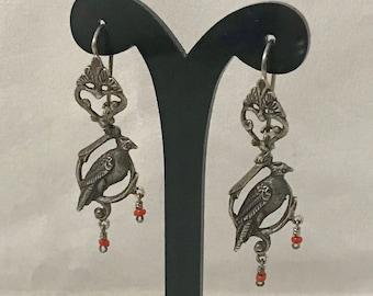 Sterling Silver Bird Dangle Earings