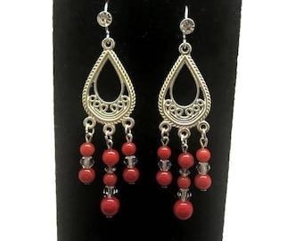 Red Bamboo Coral Earrings, Bamboo Coral Earrings, Red Coral Earrings, Red Teardrop Earrings, Red Chandelier Earrings, Red Coral Dangle