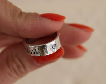 Hallmarked Personalized Sterling Silver Ring/ Personalised wedding ring/ Promise Ring/ Chinese ring/ Hand engraved ring