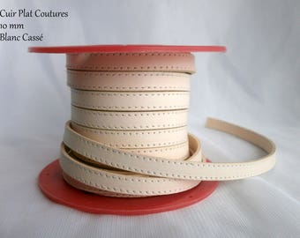 Leather strap flat leather 10 mm white broken stitching