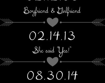 PRINTABLE Anniversary Dates Sign - 6 COLORS! - Custom Printable, 8.5x11""