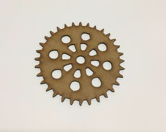 Steampunk Cogs Wooden MDF - 110mm - Decoration Card Making Craft - (1) - A9