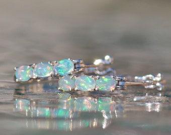 Genuine Welo Opal Small Silver Hoop Earrings,Boho Hoop,Real Opal Gemstone,October Birthstone,Large Ethiopian Opal,Birthstone Jewelry,Gift