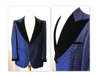 Vintage 70s Tuxedo 40 42 with a Blue Brocade Jacket with Velvet Trim 1972