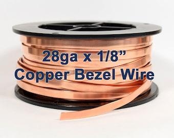 "28ga x 1/8"" Copper Bezel Wire - Choose Your Length"