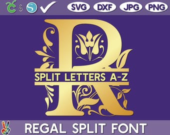 Regal split monogram SVG, Split monogram vector, Cricut cut files, Silhouette Cameo ready, full set, Regal fixed set, PNG, DXF, jpg