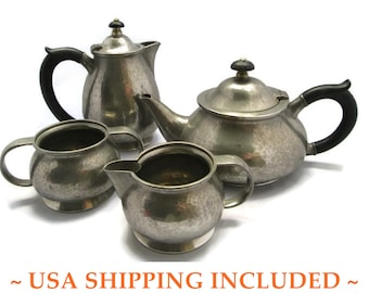Pewter Tea Set Liberty of London Tudric Hand Hammered Circa 1920