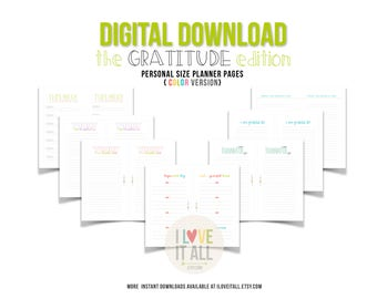Gratitude Journal Planner Insert Pages . Printable Thankful Grateful, This Week, Filofax Personal Planner Downloads Digital Planner Download