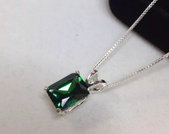 Beautiful Emerald Cut Emerald Solitaire in Sterling Silver Pendant Necklace Jewelry Gifts Trending Jewelry