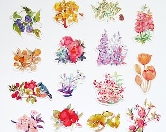Floral Stickers Pack, Flowers Sticker Sack Series D, Planner, Scrapbooking, Stationery Stickers