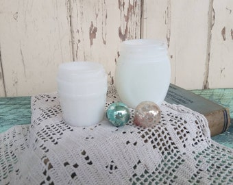 Old Milkglass Jar Set of 2 - Vintage White Milkglass Cold Cream Containers, Small White Vases, Collecting Milkglass, Wedding + Home Decor