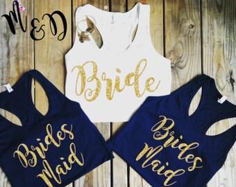 Bridal Party  Tank Tops Bridal Party Shirts, Gold Bachelorette tanks,  Team bride shirts,  Bridesmaid, GOLD MOH