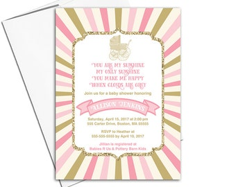 You are my sunshine baby shower invitations for girls | pink and gold baby shower invites baby carriage | printable or printed - WLP00861