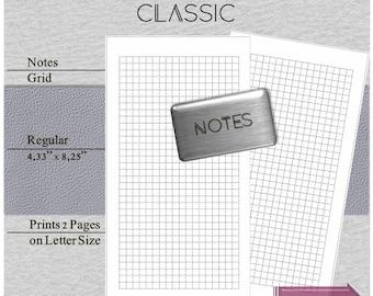 tn foxydori inserts - Travelers notebook insert (Chic sparrow, jennifer harvey). Classic series. Grid notebook printable. Regular size