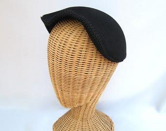 Vintage Ladies Close Hat Black Fur Felt Merrimac Braided Trim