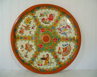 Daher Metal Tray Large Vintage Decorated Ware Retro Oversize Round Lithograph Asian Scenic Platter - Shabby Chic BoHo Bistro Serving Display