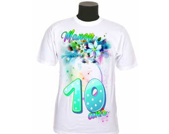 t-shirt kids birthday personalized with number and name choice ref 10 year