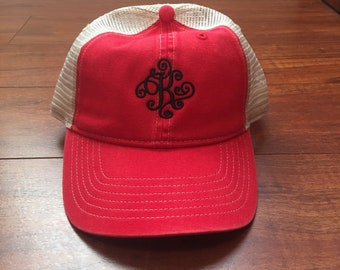 Comfort Colors Embroidered Scroll Font Monogram Trucker Hat