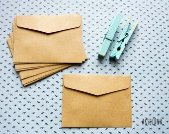 Mini kraft envelopes, 150g mini kraft pouches, mini kraft wedding bags, invitations, thanks - pack of 10 - 10cm x 7,5cm