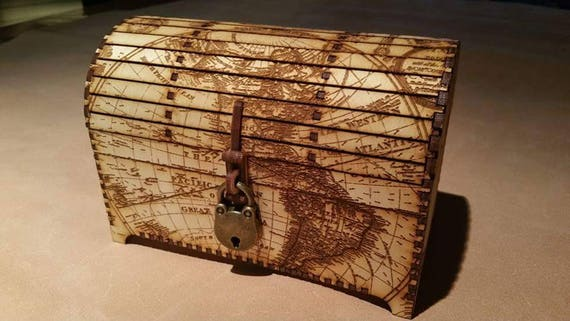 Laser cut and engraved world map treasure chest style laser cut and engraved world map treasure chest style decorative box gumiabroncs Image collections