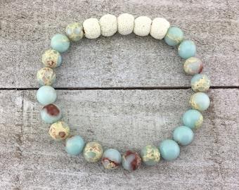 Summer bracelet, lava bead bracelet, diffuser bracelet, beaded bracelet, gemstone jewelry, yoga bracelet, infuser bracelet, lava jewelry