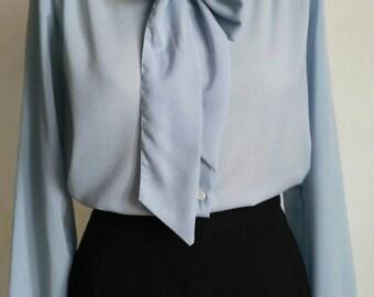 Lavalliere collar blouse, blue sky blouse, 80's blouse, vintage blouse