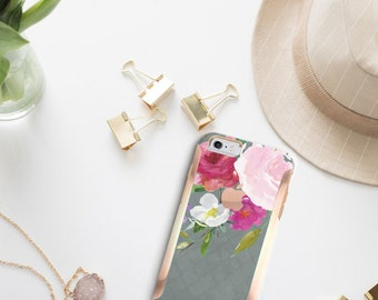 Rosey and Gray iPhone 8 Case iPhone 8 Plus Case iPhone X with Rose Gold Hard Case Otterbox Symmetry