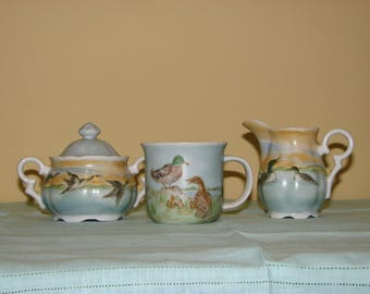 Hand painted Cream Sugar and Cup