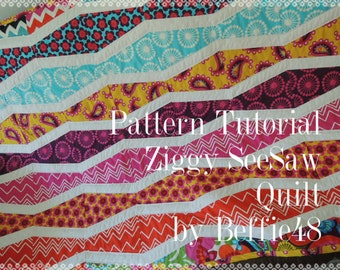 Ziggy SeeSaw Quilt, Quilt Pattern Tutorial w photos, pdf