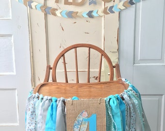 Boys High Chair Birthday Banner. Custom First Birthday High Chair Decoration, Smash Cake Birthday Party Banner.  YOU Choose the Design
