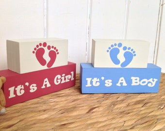 New baby gift, It's a Girl, It's a Boy, Shelf decor blocks, painted wooden blocks, wood decoration, baby shower gifts, stacker blocks