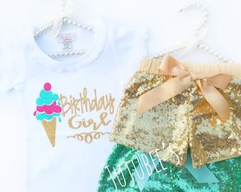 Ice Cream Birthday Girl Shirt