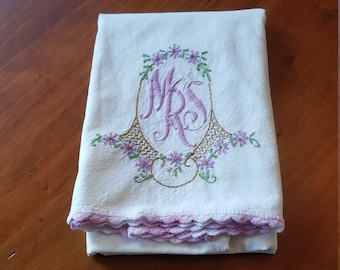 "Lavender Embroidered ""Mrs"" Pillowcase"