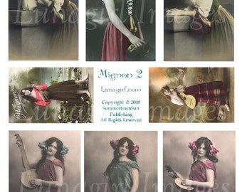 MIGNON Gypsy Girls digital collage sheet, vintage photos, Victorian images French postcards, musical altered art ephemera supplies DOWNLOAD